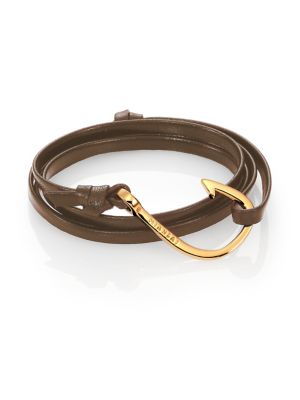 MIANSAI Hook Leather & 18K Goldplated Bracelet in Brown