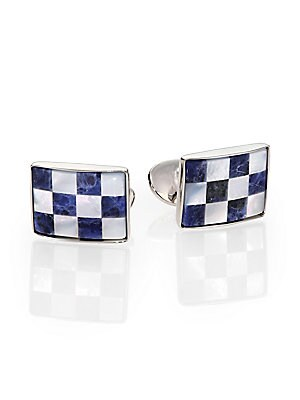 """Image of A checked pattern lends visual appeal to this cuff link set of sodalite, mother of pearl and sterling silver. Sodalite/Motherof Pearl Sterling Silver About 1"""" x .5"""" Made in USA. Men Accessories - Jewelry > Saks Fifth Avenue. David Donahue. Color: Silver B"""