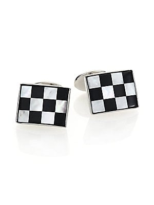 """Image of A checkered pattern lends visual appeal to this cuff link set of onyx, mother of pearl and sterling silver. Sterling silver Onyx, mother of pearl About 0.75""""W X 0.25""""L Made in USA. Men Accessories - Jewelry > Saks Fifth Avenue. David Donahue. Color: Silve"""