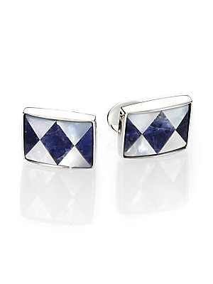 """Image of A diamond-shaped pattern lends visual appeal to this cuff link set of sodalite, mother of pearl and sterling silver. Sodalite/Motherof Pearl Sterling Silver About 1"""" x .5"""" Made in USA. Men Accessories - Jewelry > Saks Fifth Avenue. David Donahue. Color: S"""
