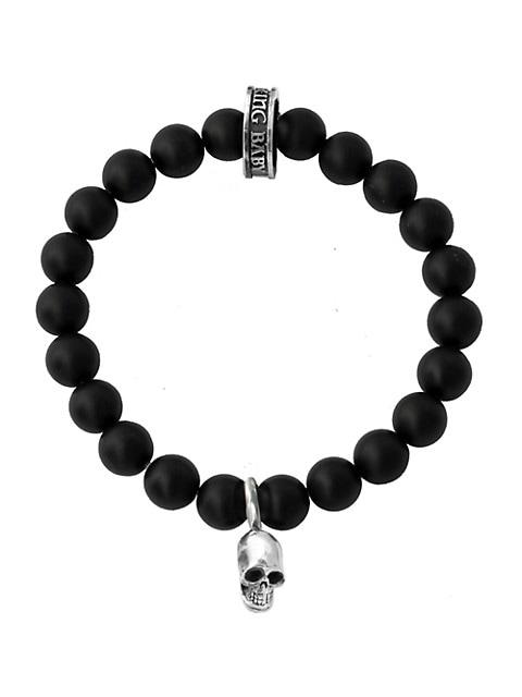 Onyx Sterling Silver Skull Beaded Bracelet