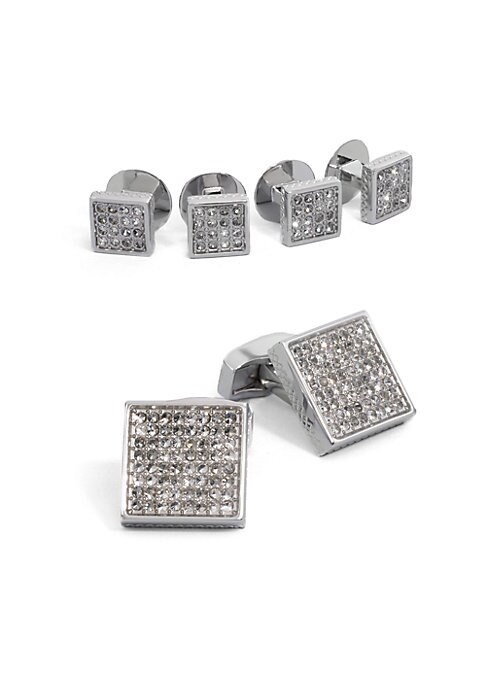 "Image of A luxury set that appoints a formal look with polished style, defined by 128 handset Swarovski crystal in rhodium-plated metal. Set includes 2 cuff links and 4 matching shirt studs. Cuff links: about? "" square. Shirt studs: about? "" square. Imported."