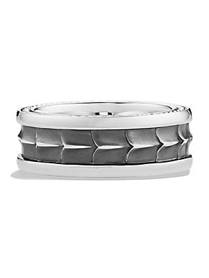 Image of A distinct touch for any man, sculpted with rope detail in gleaming sterling silver. From the Armory Collection Sterling silver Diameter, 8.6mm (.33 inches) Imported. Men Accessories - Jewelry > Saks Fifth Avenue. David Yurman. Color: Silver. Size: 10.