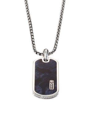 "Image of A pendant necklace of sterling silver is inlayed with pietersite and suspends handsomely from a box link chain. Sterling silver/pietersite. Length, about 22"".Pendant size, about .75"" x 1.5"".Imported."