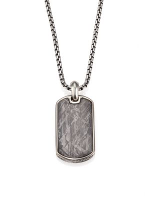 "Image of This rugged pendant necklace features a meteorite inlay which suspends handsomely from a sterling silver box link chain. Sterling silver/meteorite. Length, about 21"".Pendant size, about .75"" x 1.25"".Imported."