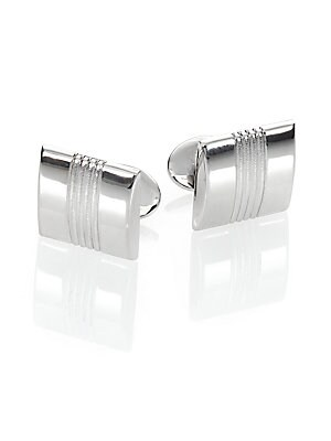 """Image of A sleek finish to every formal look, this polished sterling silver design is crafted in a rectangular-shaped frame and understated etching. Sterling Silver About 1"""" x .6"""" Made in USA. Men Accessories - Jewelry > Saks Fifth Avenue. David Donahue. Color: Si"""