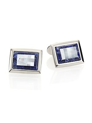 """Image of An elegant cuff link design is expertly-crafted in sodalite, mother of pearl and sterling silver. Sterling silver Sodalite, mother of pearl About 0.75""""W X 0.25""""L Made in USA. Men Accessories - Jewelry > Saks Fifth Avenue. David Donahue. Color: Sodalite."""
