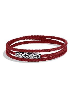 David Yurman Chevron Triple Wrap Leather Bracelet