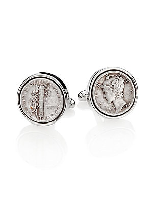 """Image of A sartorial dress accent is crafted from sterling silver and authentic Mercury dimes. Mercury dimes/Sterling Silver Diameter, about 1"""" Made in USA. Men Accessories - Jewelry > Saks Fifth Avenue. David Donahue. Color: Silver."""