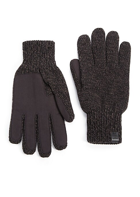 """Image of Knit gloves with faux suede palms for added softness.11"""" long. Wool/acrylic. Hand wash. Imported."""