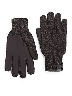"Image of Knit gloves with faux suede palms for added softness 11"" long Wool/acrylic Hand wash Imported. Men Accessories - Fashion Accessories > Saks Fifth Avenue. Bickley + Mitchell. Color: Black. Size: M/L."
