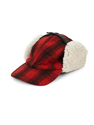 Image of Trapper hat with wool-blend cover, shearling ear flaps and leather ties. Snap button closure Wool/polyester/acrylic/viscose Trim: Leather Fur type: Bleached lamb shearling Fur origin: Uruguay Dry clean by fur specialist Made in Canada. Men Accessories - C