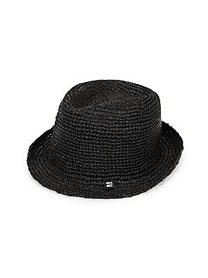"""Image of Boho-chic trilby constructed from crocheted straw Cotton lining Brim, about 1.5"""" Straw Spot clean Imported. Men Accessories - Cold Weather Accessories. Block Headwear. Color: Purple Navy."""