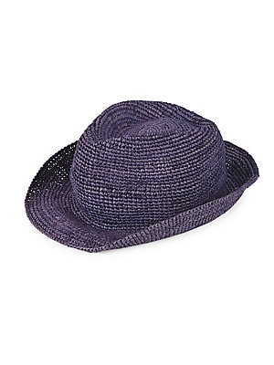 """Image of Boho-chic trilby constructed from crocheted straw Cotton lining Brim, about 1.5"""" Straw Spot clean Imported. Men Accessories - Fashion Accessories > Saks Fifth Avenue. Block Headwear. Color: Purple Navy."""