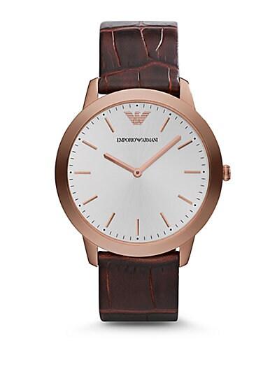 Emporio Armani Round Stainless Steel Watch   Rust Brown
