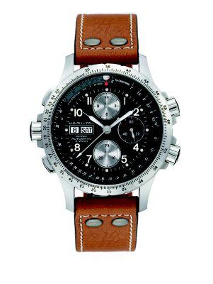 Khaki Aviation X-Wind Auto Chrono Stainless Steel & Leather Strap Watch