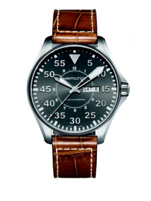 Khaki Aviation Pilot Auto Stainless Steel & Embossed Leather Strap Watch