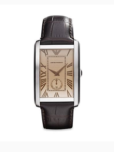 Emporio Armani Rectangular Stainless Steel Watch/Brown Crocodile Embossed Leathe
