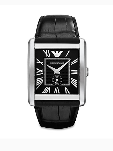 Emporio Armani Rectangular Stainless Steel Watch/Crocodile Embossed Leather   Bl