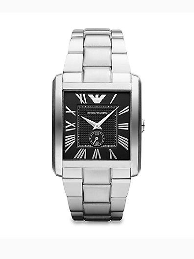 Emporio Armani Rectangular Stainless Steel Watch   Silver