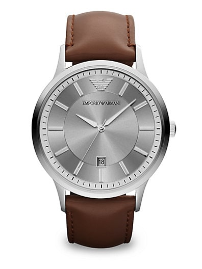 Emporio Armani Polished Stainless Steel Watch   Brown Stainless Steel