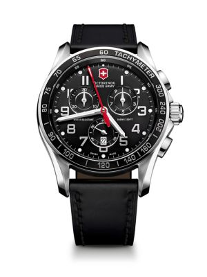 Victorinox Swiss Army Chrono Classic XLS Stainless Steel & Leather Chronograph Strap Watch
