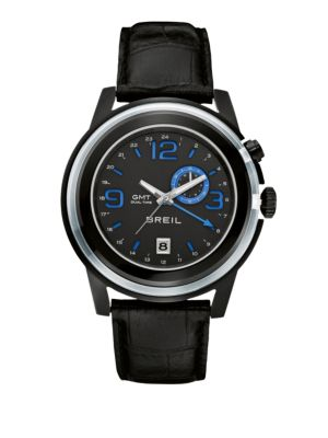 BREIL Dual Time Strap Watch in Stainless Steel Black