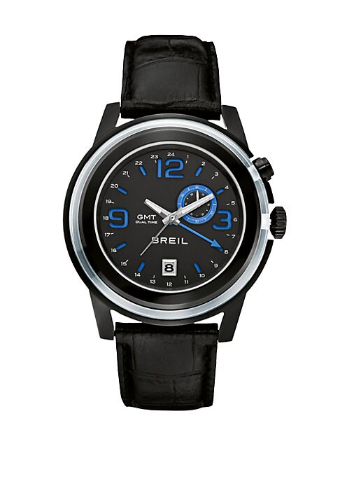 """Image of A multi-layered timepiece of stainless steel with a sleek strap bracelet of croc-embossed leather. Quartz movement. Water resistant to 10ATM. Stainless steel case: 45mm(1.77"""").Smooth bezel. Date display at 6 o'clock. Second hand. Leather strap. Imported."""