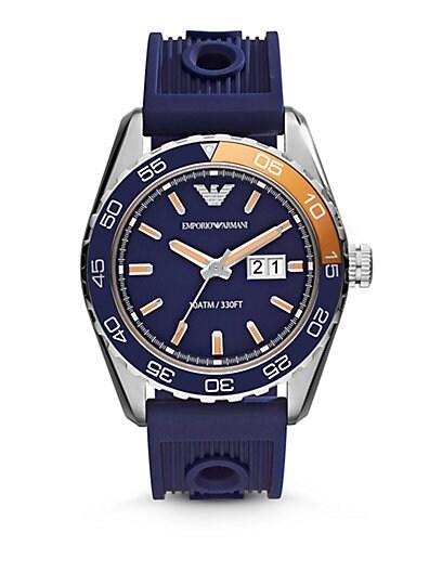 Emporio Armani Round Stainless Steel Watch   Blue