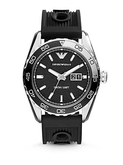 Emporio Armani Round Stainless Steel Watch   Black