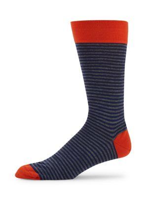 MARCOLIANI Striped Socks in Lapis Blue