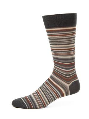 MARCOLIANI Striped Pima Cotton-Blend Socks in Black Asphalt