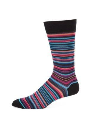 MARCOLIANI Striped Pima Cotton-Blend Socks in Sunrise Blue