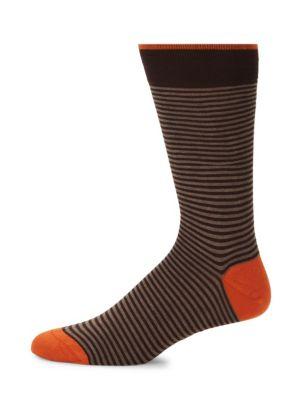 MARCOLIANI Palio Striped Crew Socks in Dark Beige
