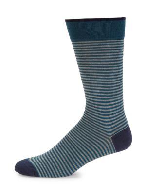 MARCOLIANI Palio Striped Crew Socks in Grey