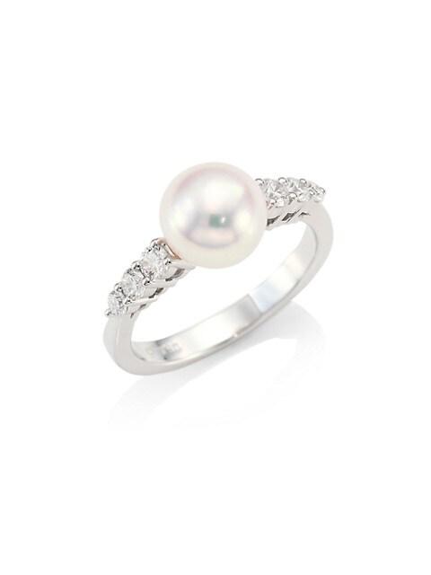 Morning Dew 18K White Gold, 8MM Cultured Akoya Pearl & Diamond Ring