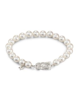 Mikimoto 7MM-7.5MM White Cultured Akoya Pearl & 18K White Gold Strand Bracelet