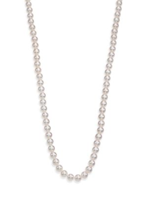 Basic 7MM-7.5MM White Cultured Akoya Pearl & 18K White Gold Strand Necklace/40