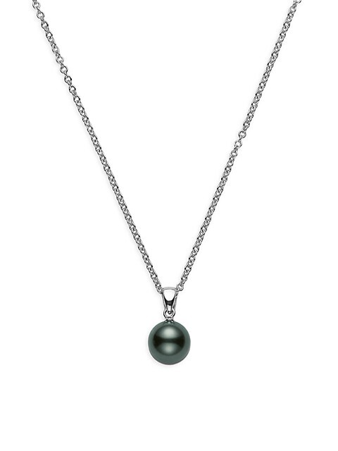 9MM Black Round Cultured South Sea Pearl & 18K White Gold Pendant Necklace