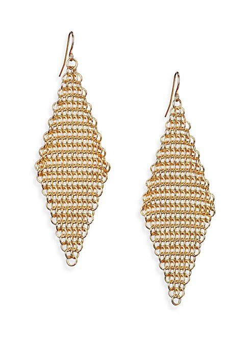 """Image of From the Call of the Wild Collection. A marquis of fluid chain mesh in gleaming goldtone dangles upon a delicate ear wire. Goldtone brass. Length, about 3.75"""".Width, about 1.5"""".Ear wire. Imported."""