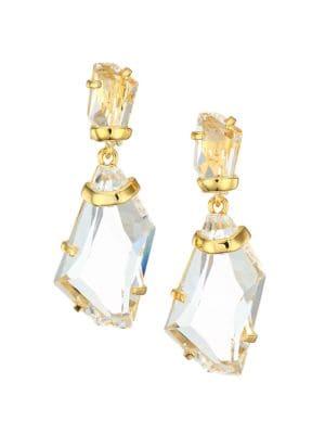 Kenneth Jay Lane Women's 22k Goldplated & Crystal Clip-on Double-drop Earrings