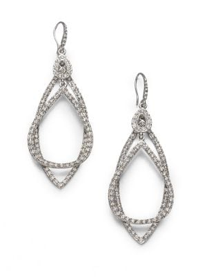 "Image of A sparkling teardrop sits atop a sparkling marquis shape in this dazzling pave design. Glass. Rhodium-plated. Length, about 3"".Ear wire. Imported."