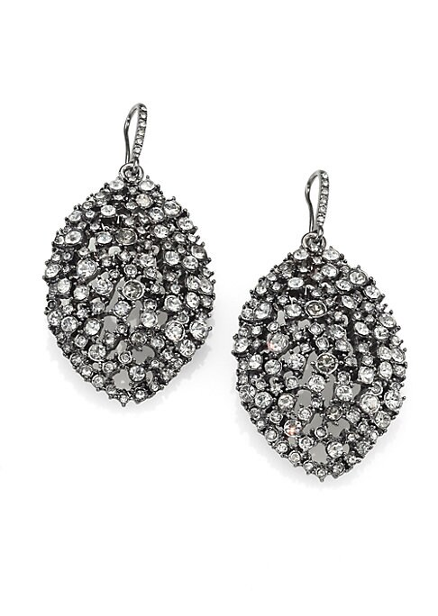 """Image of A convex, openwork design in a unique almond shape encrusted in faceted glass stones. .Glass. Gunmetal-finished. Drop, about 2.5"""".Hook back. Imported."""