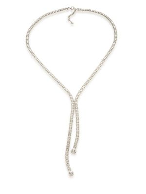 "Image of An elegant and sparkling design featuring a strand of faceted glass stones flanked by two chic, ball chains. .Glass. Brass. Length, about 28"" to 30"" adjustable. Pendant size, about 7"".Lobster clasp. Imported."