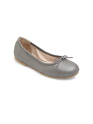 Image of Pearlized leather ballet shoes with classic elastic bow tie. Slip-on style Pearlized leather upper Adjustable elastic bow tie Padded leather insole Leather and rubber sole Imported. Children's Wear - Children's Shoes > Saks Fifth Avenue. Bloch. Color: Met