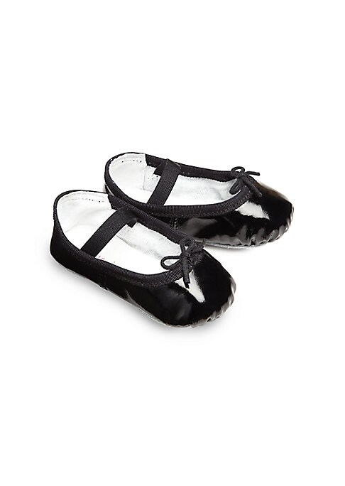 Image of A stylish, shiny ballet flat for your tiny dancer with an elastic strap for a snug fit. Elastic strap with adjustable tie. Patent leather upper. Leather lining. Leather sole. Padded insole. Imported.