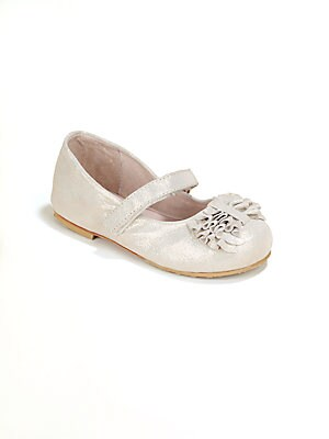 Image of A glistening, glittery Mary Jane design crafted in plush leather with adjustable grip-tape strap. Grip-tape adjustable strap Leather upper Leather lining Leather sole Padded insole Imported. Children's Wear - Children's Shoes. Bloch. Color: Pearl. Size: 2