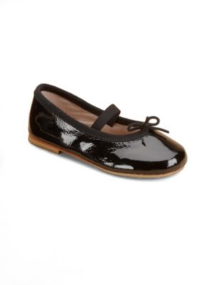 Image of A stylishly shiny ballet flat for your tiny dancer with an elastic strap for a snug fit. Elastic strap with adjustable tie. Patent leather upper. Leather lining. Leather sole. Padded insole. Imported.