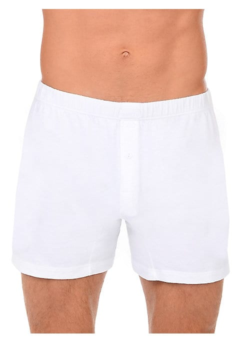 Image of Button fly boxers in soft Pima cotton. Elasticized waistband. Button fly. Pima cotton. Machine wash. Imported.