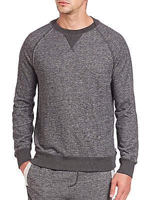 Image of A pullover with an overall slim fit and a casual crew neckline. Crewneck Long sleeves Ribbed cuffs and hem Cotton/polyester/rayon Machine wash Imported. Men Accessories - Underwear > Saks Fifth Avenue. 2(X)IST. Color: Black Heather. Size: S.